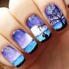 Пейзаж на ногтях красками