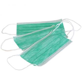Медсервис, Маска одноразововая трехслойная, зеленая, 50 шт.