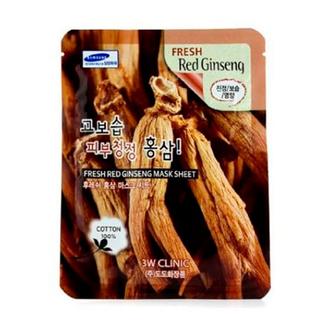3W Clinic, Тканевая маска для лица Fresh Red Ginseng, 23 мл