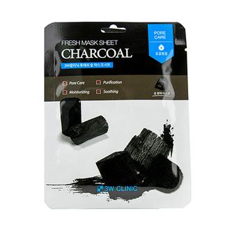3W Clinic, Тканевая маска для лица Fresh Charcoal, 23 мл