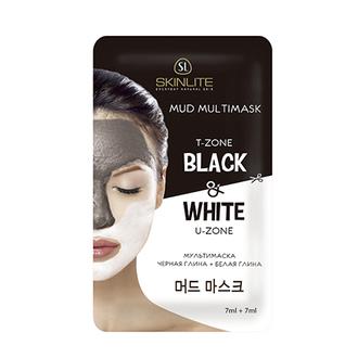 Skinlite, Маска «Черная+белая глина», 7 мл+7 мл