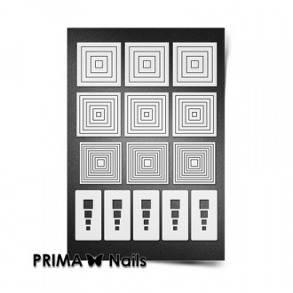 Prima Nails, Трафареты «Геометрия», белые квадраты