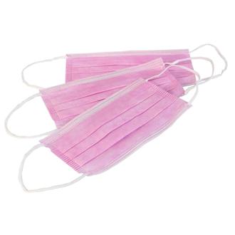 Медсервис, Маска одноразововая трехслойная, розовая, 50 шт.