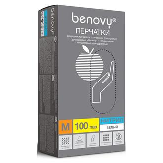 Benovy, Перчатки нитриловые белые, размер M, 200 шт.