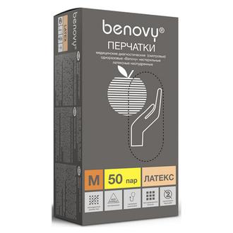 Benovy, Перчатки латексные, неопудренные, размер M, 100 шт.