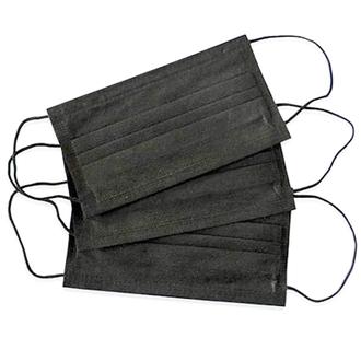 Медсервис. Маска одноразовая трехслойная, черная, 50 шт.