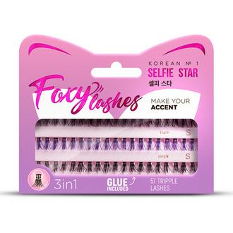 Selfie Star, Накладные ресницы Foxy Lashes, XS/S, черные, фиолетовые