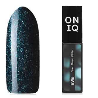 ONIQ, Гель-лак Eve №128S, Deep Green Glitter