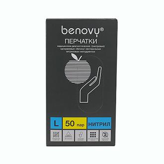 Benovy, Перчатки нитриловые голубые, размер L, 100 шт.