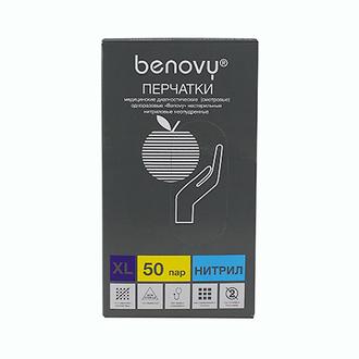 Benovy, Перчатки нитриловые голубые, размер XL, 100 шт.