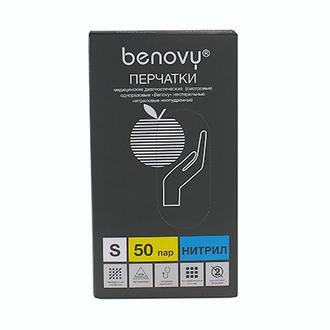 Benovy, Перчатки нитриловые сиреневые, размер S, 100 шт.