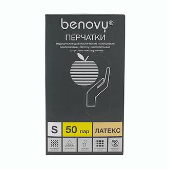 Benovy, Перчатки латексные, неопудренные, размер S, 100 шт.