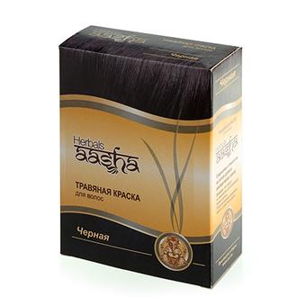 Aasha Herbals, Травяная краска для волос, черная, 6х10 г