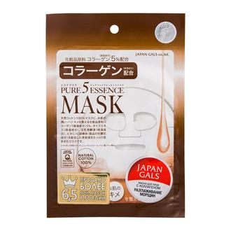 Japan Gals, Маска для лица Pure 5 Essence с коллагеном, 1 шт.