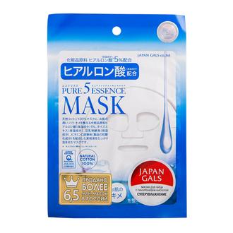 Japan Gals, Маска для лица Pure 5 Essence с гиалуроновой кислотой, 1 шт.