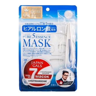 Japan Gals, Маска для лица Pure 5 Essence с гиалуроновой кислотой, 7 шт.