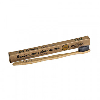 Aasha Herbals, Бамбуковая зубная щетка с угольным напылением, средняя
