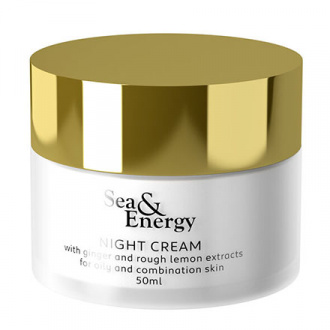 Sea & Energy, Ночной крем для лица Ginger and Rough Lemon Extracts, 50 мл