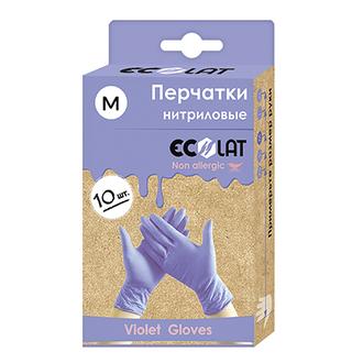 EcoLat, Перчатки нитриловые, сиреневые, размер M, 10 шт.