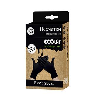 EcoLat, Перчатки нитриловые, черные, размер XS, 10 шт.