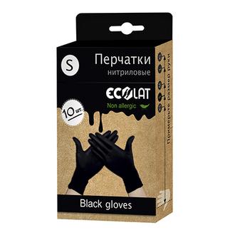 EcoLat, Перчатки нитриловые, черные, размер S, 10 шт.