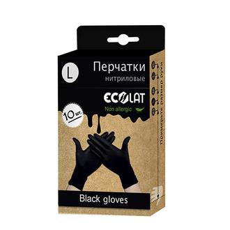 EcoLat, Перчатки нитриловые, черные, размер L, 10 шт.