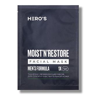 HERO'S, Маска для сухой и чувствительной кожи Men's Formula, 20 г