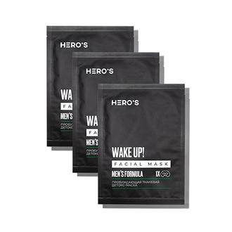 HERO'S, Детокс-маска для лица Men's Formula, 3х20 г
