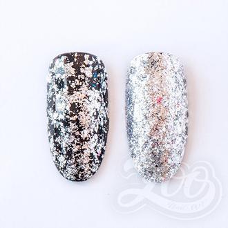 Zoo Nail Art, Хлопья Юки, металлические, серебро