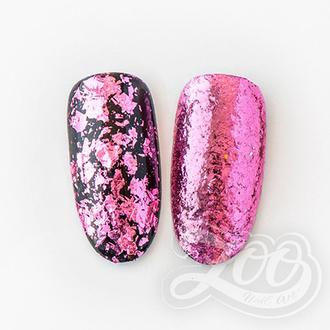 Zoo Nail Art, Хлопья Юки, металлические, розовые
