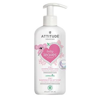 ATTITUDE, Шампунь-гель для волос и тела Baby Leaves «Без запаха», 473 мл