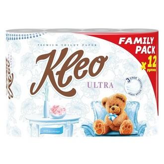 Kleo, Бумага туалетная Ultra, 3 слоя, 12 рулонов