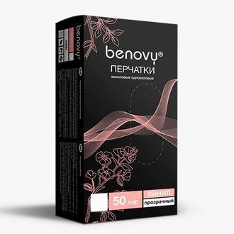 Benovy, Перчатки виниловые, прозрачные, размер M