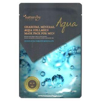 Natureby, Маска для лица Charcoal Mineral Aqua Collagen, 25 г