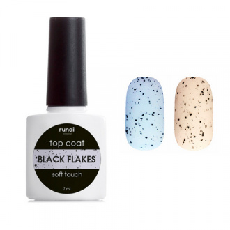 ruNail, Топ Black Flakes Soft Touch №6506