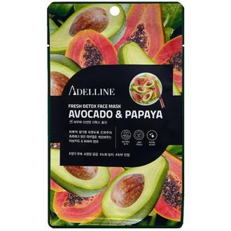 Adelline, Детокс-маска для лица Avocado & Papaya, 20 г