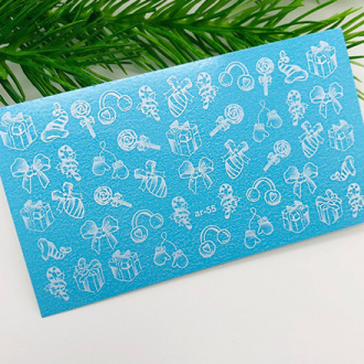 Ami-Nails, Слайдер-дизайн №0055 «Зима, снежинки»