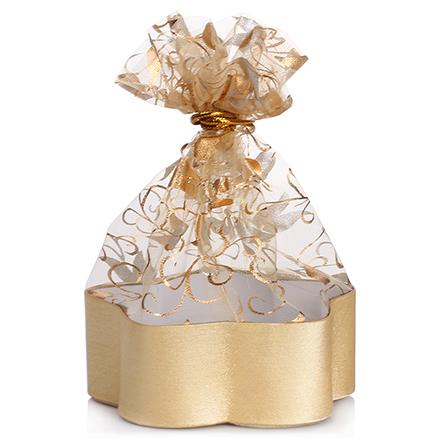 Коробка подарочная с мешком Цветок Золотой, 13,8*13,8*5 см
