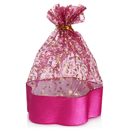 Коробка подарочная с мешком Цветок Розовый, 13,8*13,8*5 см