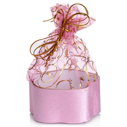 Коробка подарочная с мешком Цветок Светло-розовый, 7*7*3 см