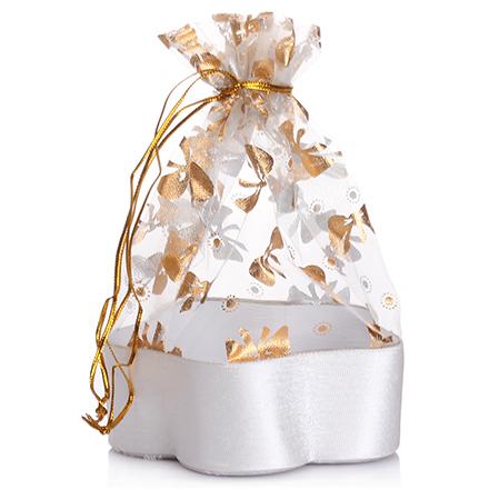 Коробка подарочная с мешком Цветок Серебряный, 13,8*13,8*5 см