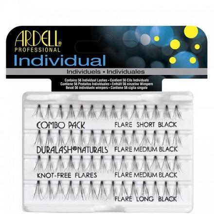 Ardell, пучки ресниц безузелковые комбинированные чёрные (УЦЕНКА)