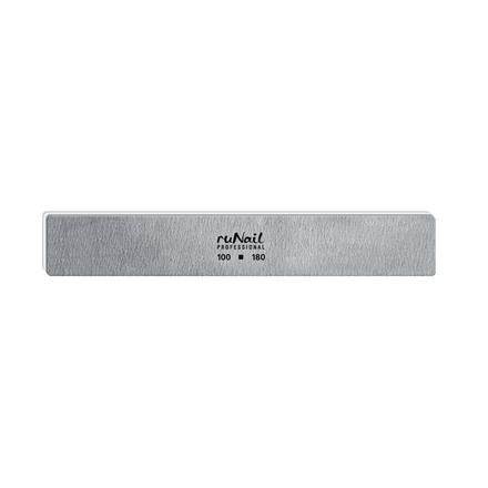 ruNail, Пилка для искусственных ногтей серая, прямая, 100/180