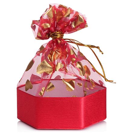 Коробка подарочная с мешком Шестиугольник Красный, 13*13*5 см