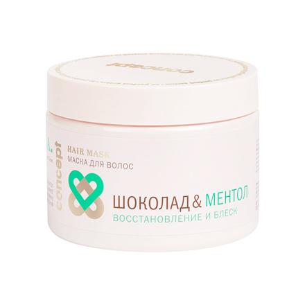 Concept, Маска для волос «Шоколад и ментол», восстановление и блеск, 350 мл