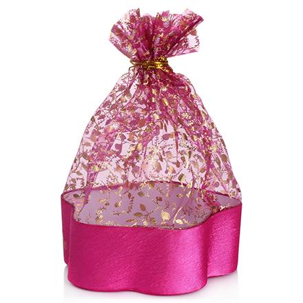 Коробка подарочная с мешком Цветок Розовый, 12,5*12,5*4,5 см