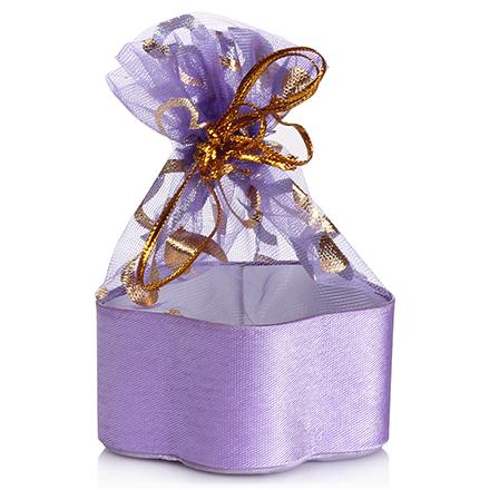 Коробка подарочная с мешком Цветок Фиолетовый, 12,5*12,5*4,5 см
