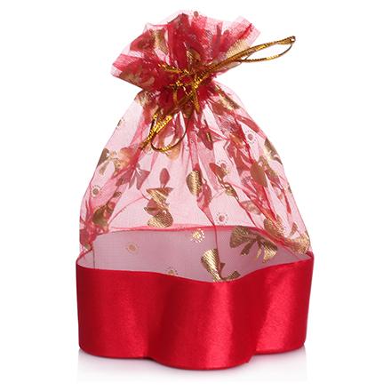 Коробка подарочная с мешком Цветок Красный, 12,5*12,5*4,5 см