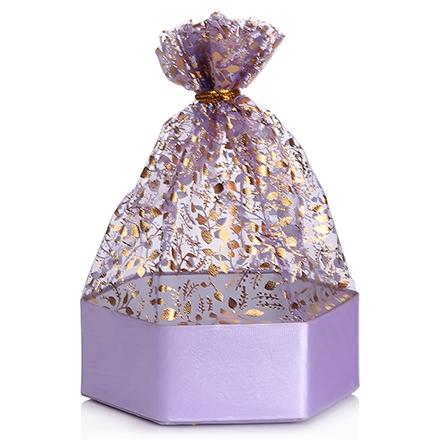 Коробка подарочная с мешком Шестиугольник Фиолетовый, 6*6*3 см