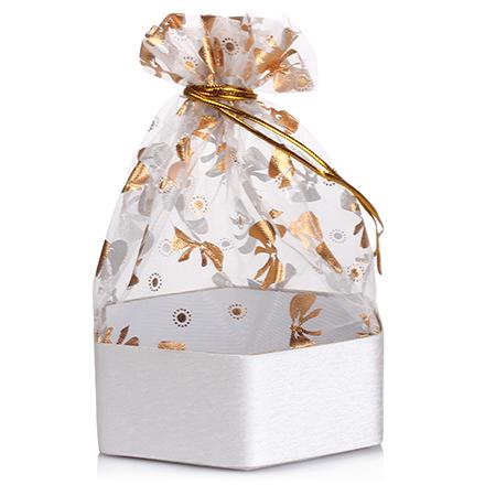 Коробка подарочная с мешком Шестиугольник Серебряный, 7,3*7,3*3 см